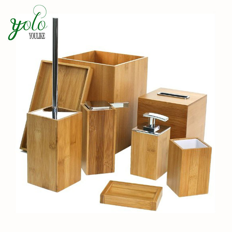 Set of 8 Wooden bamboo Bathroom Accessory Set