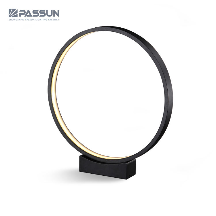 Aluminium SMD 24W unique circle ring LED table lamp desk reading lamp and study hotel table lamp
