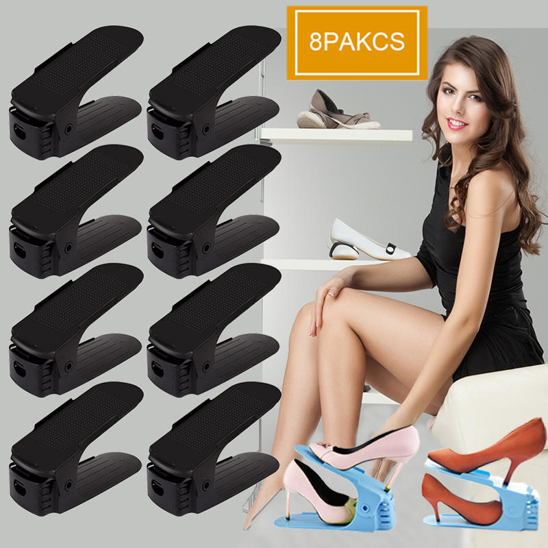 8pcs Adjust Home Use Modern Plastic Double Storage Shoes Rack