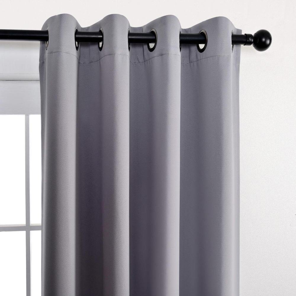 hot selling curtain ready made grey blackout eyelet window