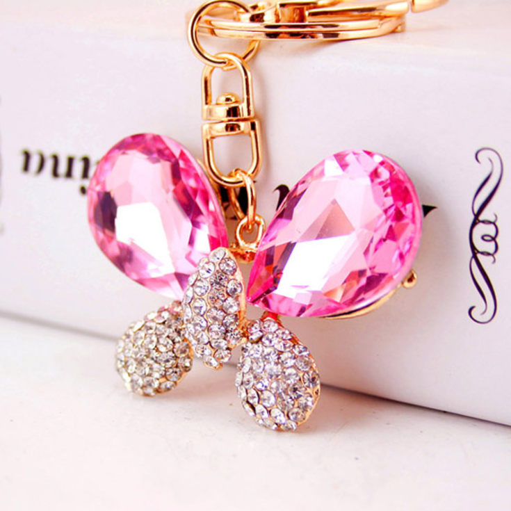 fashion crystal keyring gold plated hoops shiny party jewelry white butterfly rhinestones charm key chain