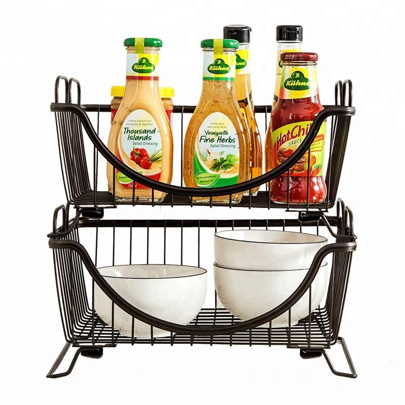 Home Kitchen Organizer Cast Iron Stackable Kitchen Dish Rack Storage Basket Plate Rack Dish Drainer Rack with Foldable Stander