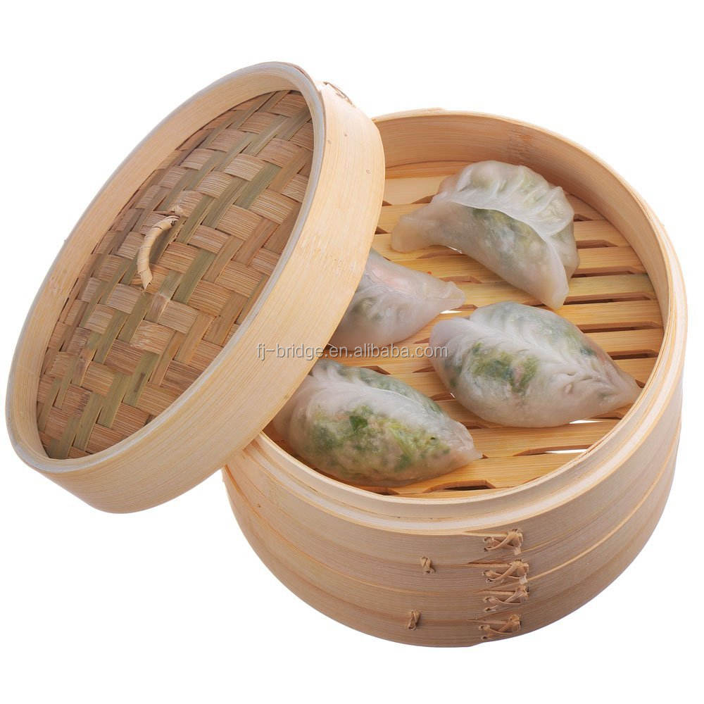 Custom 6-10inch Natural Bamboo Dumpling Steamer 2 Tiers Basket with Lid