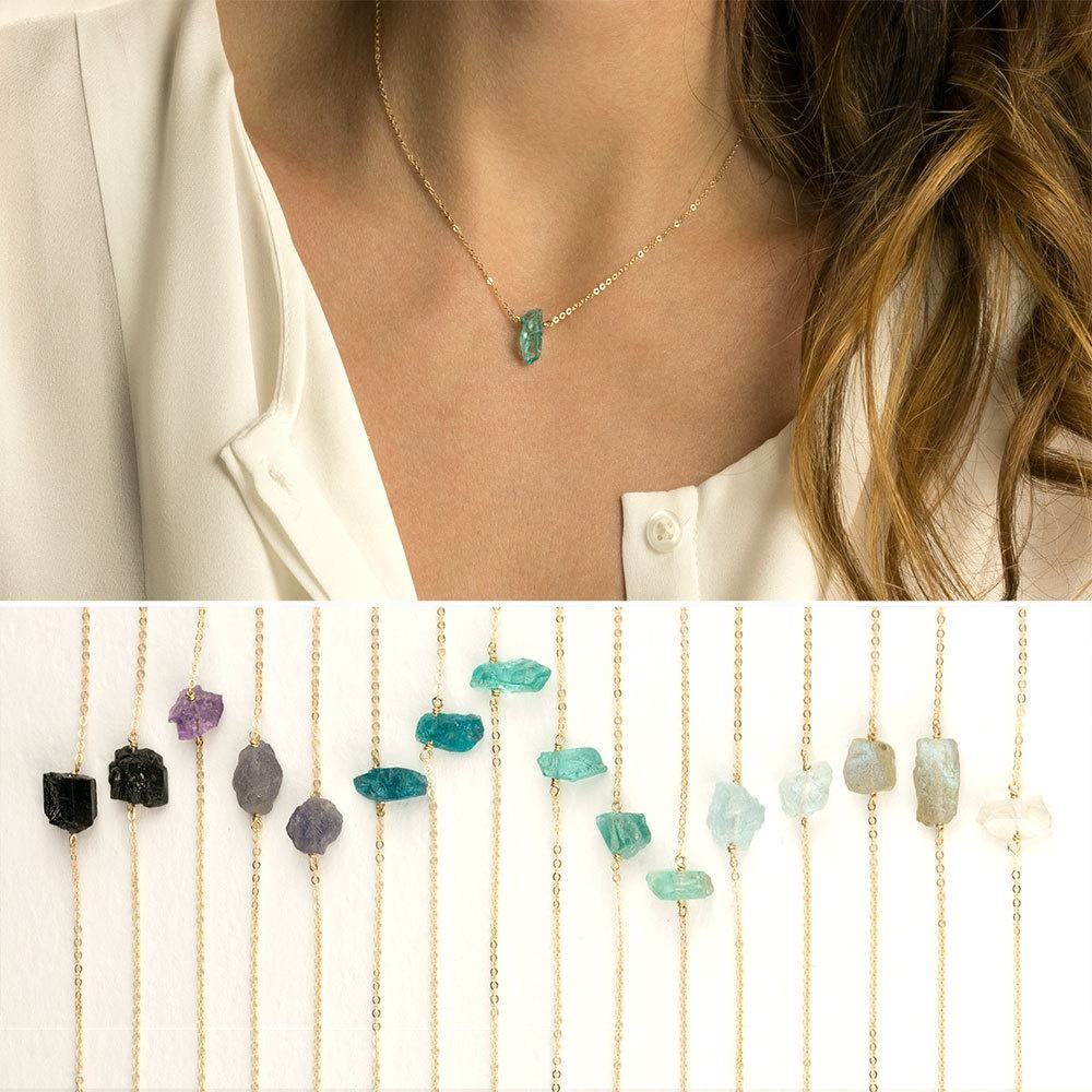 New trending hot products Minimal Crystal Necklace Rough Cut Gemstone Necklace Raw Rock Crystal Necklace