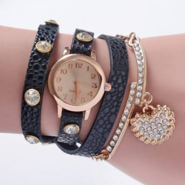 new arrival gold plated rhinestone leather Butterfly punk style woman fashion watch women Rhinestone lady watch six