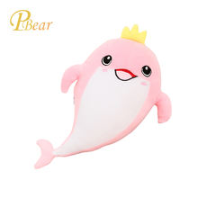 Wholesale high quality soft lovely cartoon sea animal blue pink dolphin stuffed doll plush toys for kids