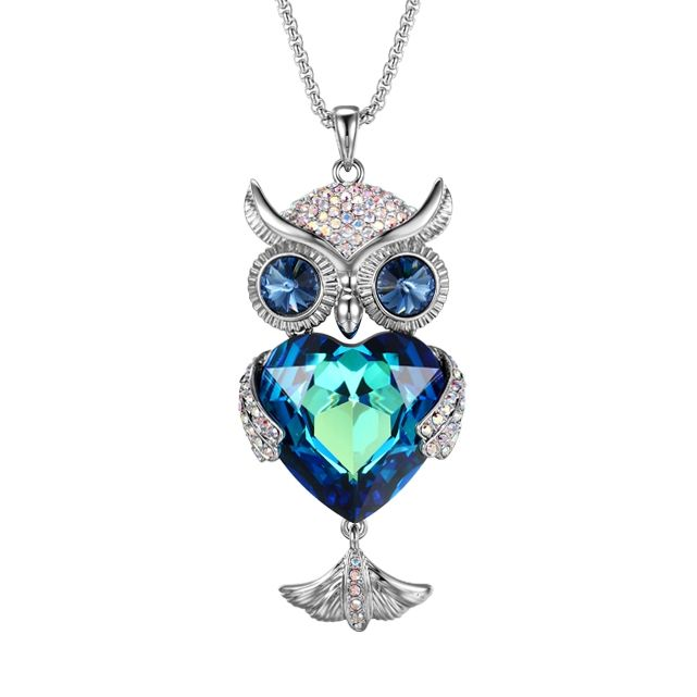 XZ1808221 xuping necklace crystals from Swarovski, luxury animal owl guangzhou copper alloy 925 sterling silver color jewelry