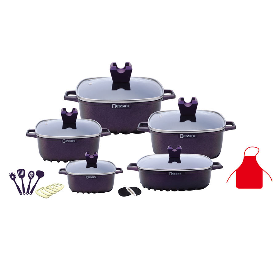 10pcs dessini granite square pot cookware set