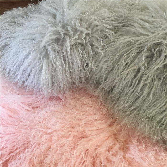 Grey white baby play Mongolian wool sheepskin rug Long Curly sheepskin