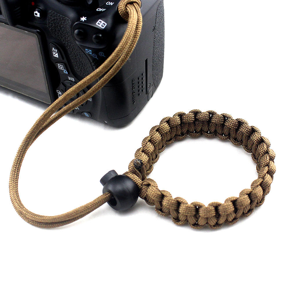 Promotional Outdoor Adjustable Rope Camera Wrist Strap Band With Plastic Stopper