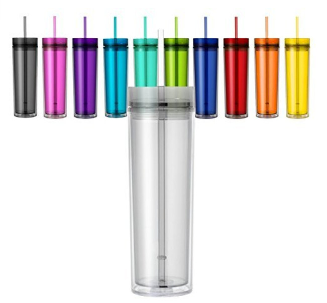 Wholesales 16oz insulated double wall Acrylic skinny personalized plastic Tumbler With Straw