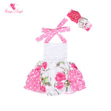 Newborn Baby Girl Clothes Floral Printed Ruffle Strap First Birthday Romper For Baby Girl