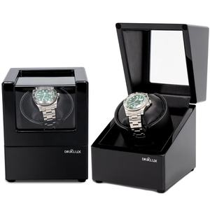 Driklux Logo Kustom Kayu Watch Case Kotak Hitam Cat Gloss Single Automatic Watch Kemasan Mewah Watch Winder