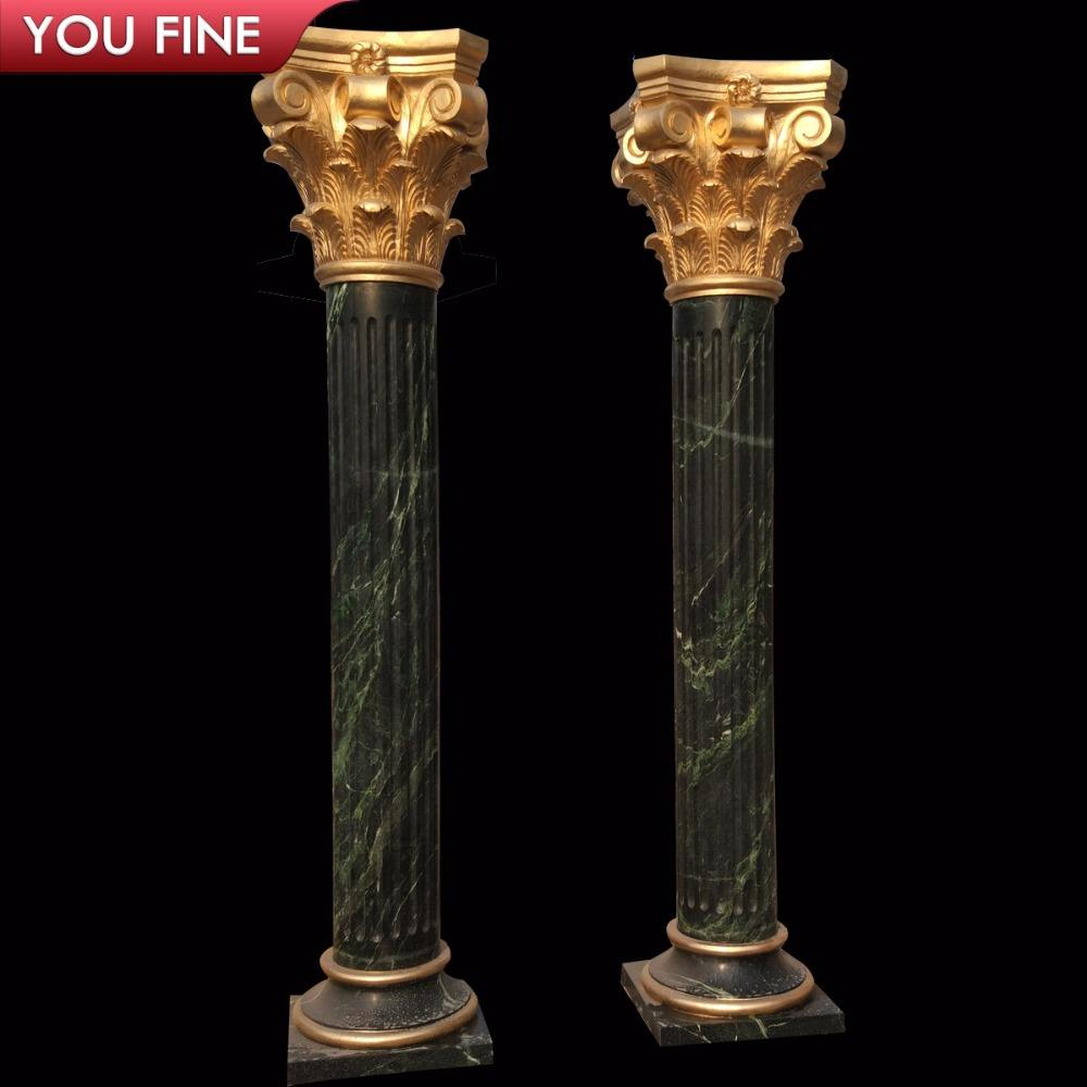 Hand Carved Natural Green Marble Stone Roman Pillar Column