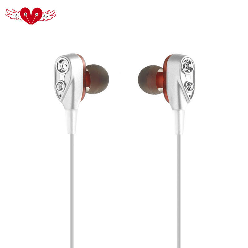 Telinga Di Telinga Empat Inti Double Moving Coil HI FI Headset Bass Ganda Earphone Headset