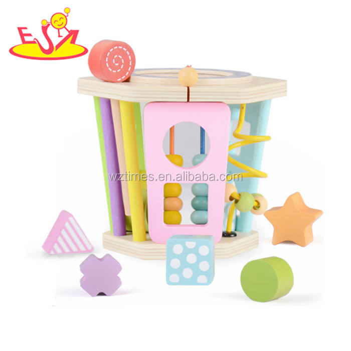 Best Amazon cube toys wooden shape sorting activity for baby W12D091
