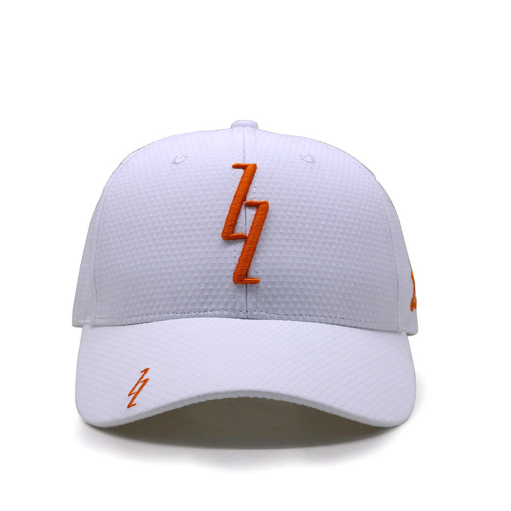 Custom high quality orange 3D embroidery logo white cap sports cap for golf and cricket team wear cap hat