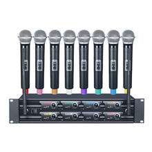 Professional 8 channels UHF Wireless Microphone