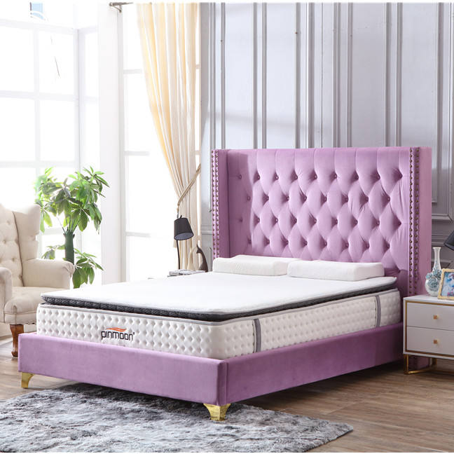 Latest Slat Support Bed Frame King Size Fabric Platform Bed Luxury with High Headboard Upholstered