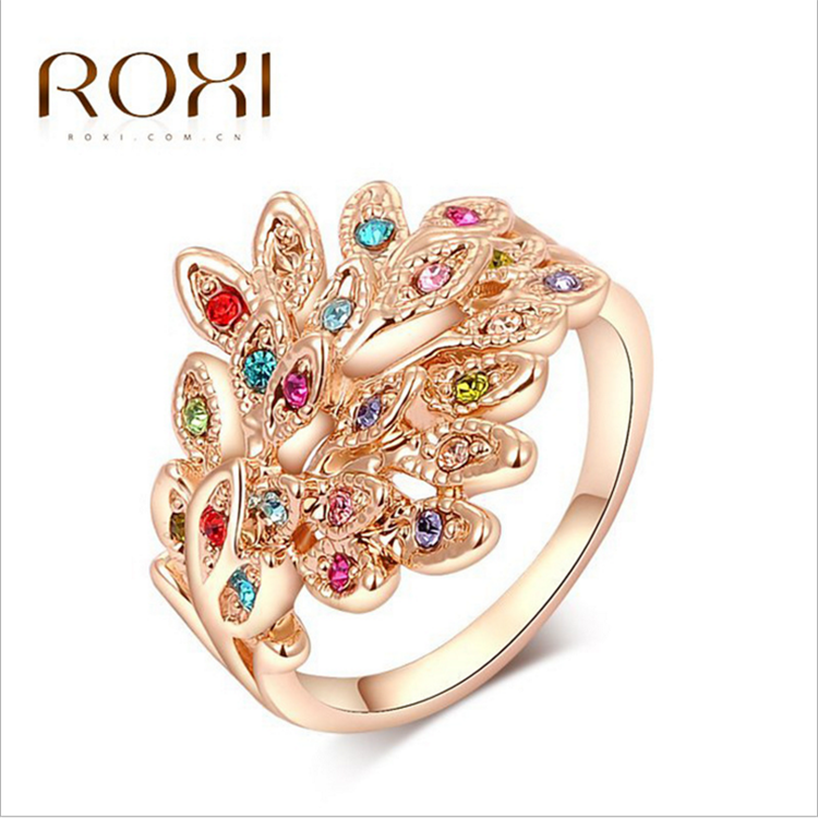 Wholesale classic jewelry bracelet crystal rose gold color diamond peacock ring