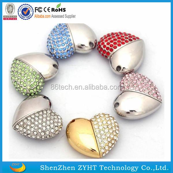 Romance corazón práctico regalos USB flash USB de cristal para el Día de San Valentín H