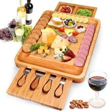 Bamboo Cheese Board Meat Charcuterie Platter Serving Tray With Two Hidden Slide out Drawers  4 Cutlery Set
