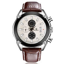 Business Genuine Leather Megir Watches Men Casual Chronograph Quartz Wristwatch