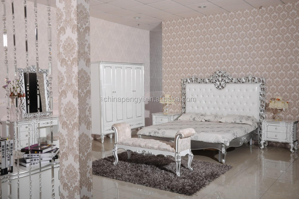 Antique Luxury Rococo European Baroque Bed wedding bedroom furniture