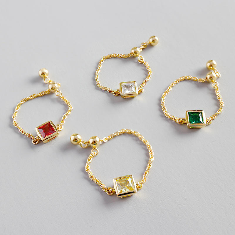 Fashion Korea 925 sterling silver square CZ 18k gold link chain adjustable size rings