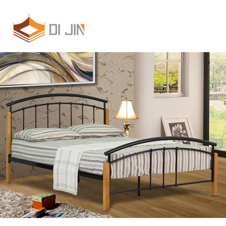 Mail Packing Wood Leg iron steel metal bed frame for bedroom furniture