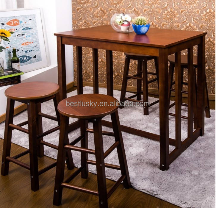 Pine Wood 5-piece Bar Table Set High/Pub Table Set With 4 Bar Stools Bar Table And Stool