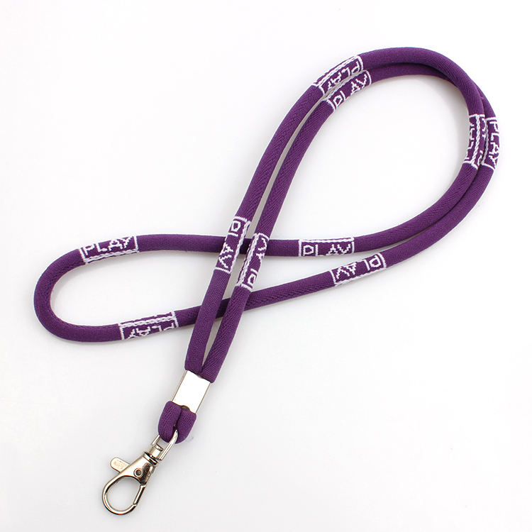 Askpet eco friendly durable cheap round elastic cord woven purple lanyard with logo