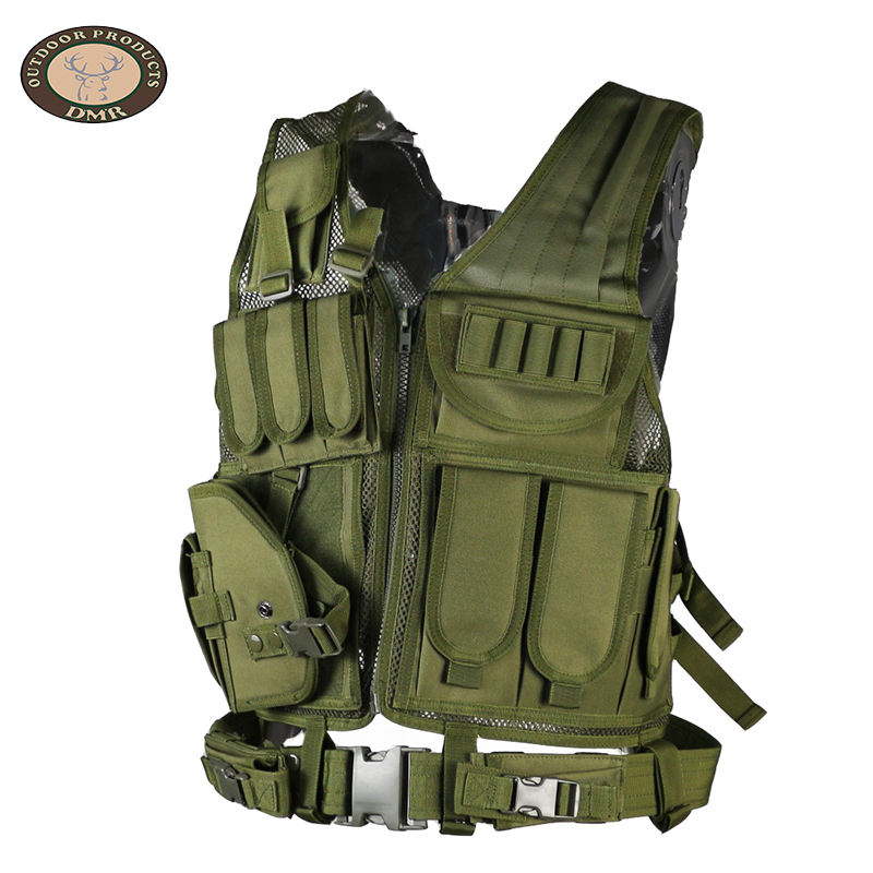 Custom fashion mens army green multi pocket military gear olive tactical vest outdoor