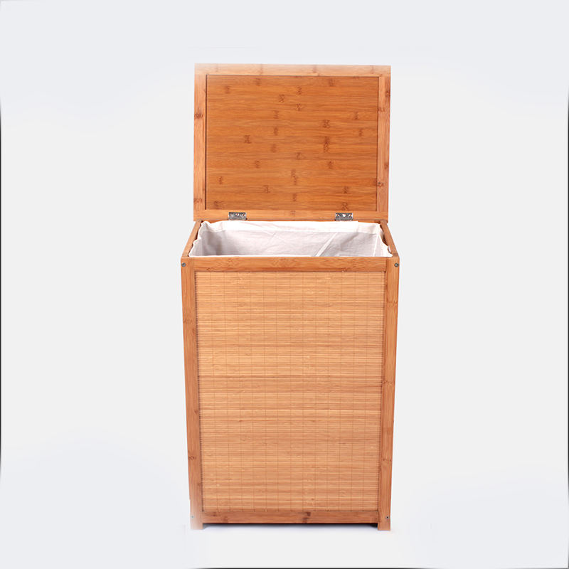 2019 customized bathroom bamboo wooden square cube dirty bamboo clothes storage basket bin box Hampers