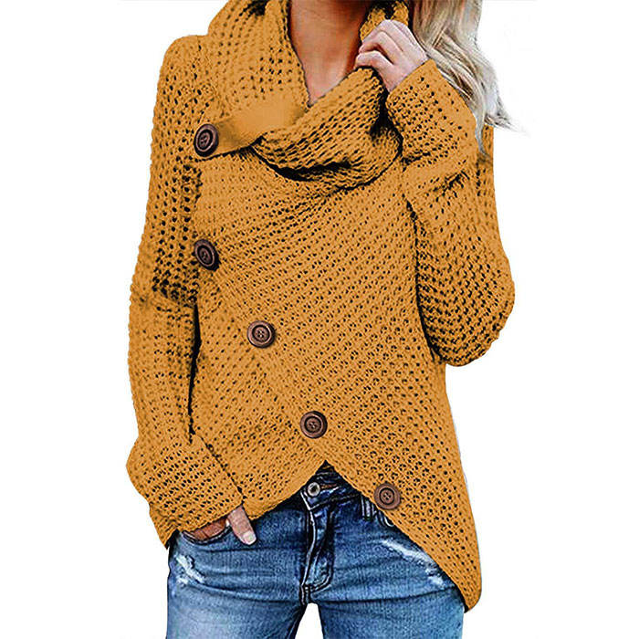 Newest Design Warm Asymmetric Hem Heavy Sweater Coat