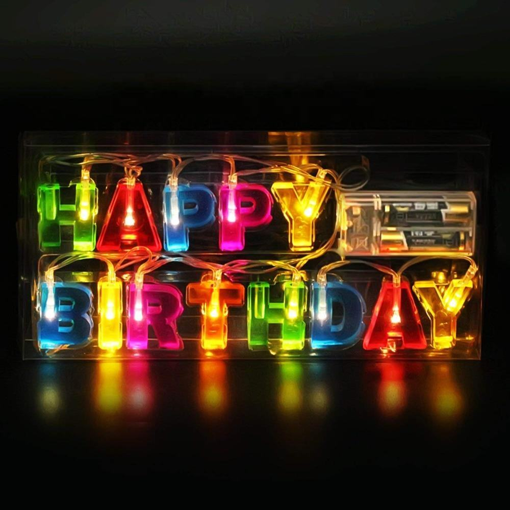 3.3Ft/1M Novelty Multicolor Happy Birthday Letter LED String Lights for Birthday Party Decoration