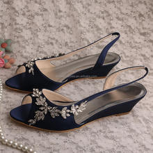 Elegant Navy Satin Shoes for Women with Applique