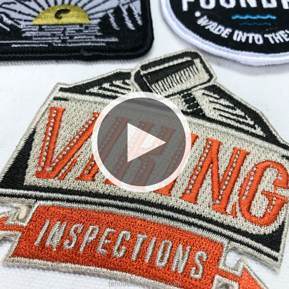 Logotipo de la marca bordada parches de bordado personalizados coser/hierro para ropa