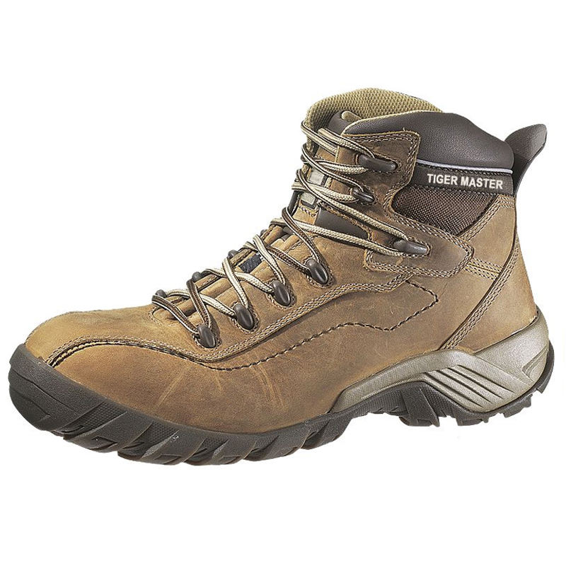 Good quality high ankle rugged leather composite toe safety shoes