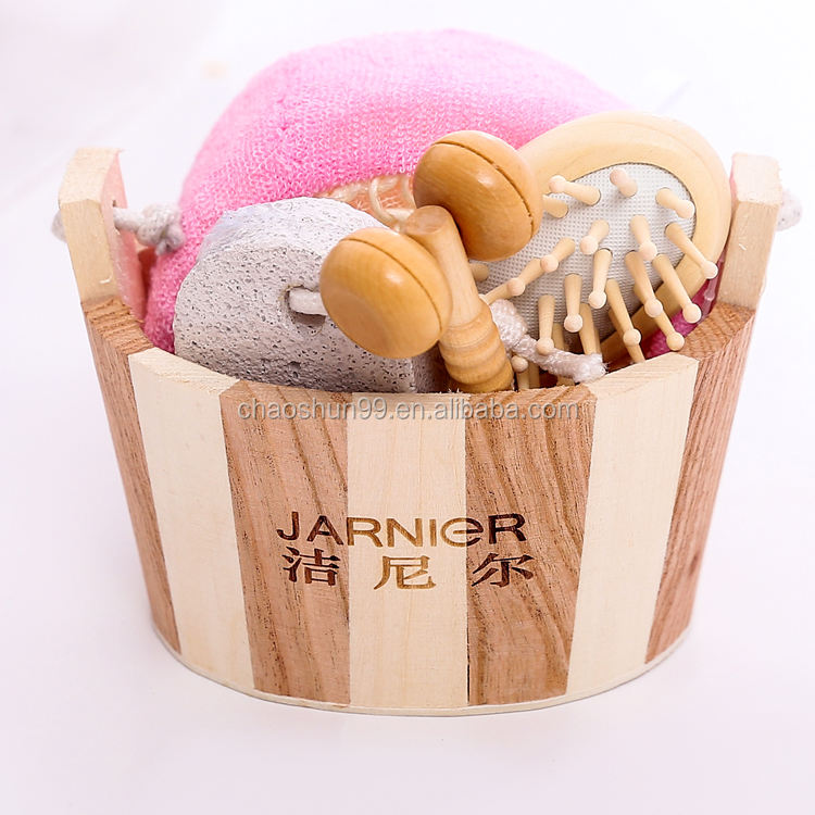 Portable wooden bath gift sets for shower