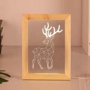 Etch lighting customize laser cut acrylic light wood photo frame night lamp 3d led optical illusion lamp