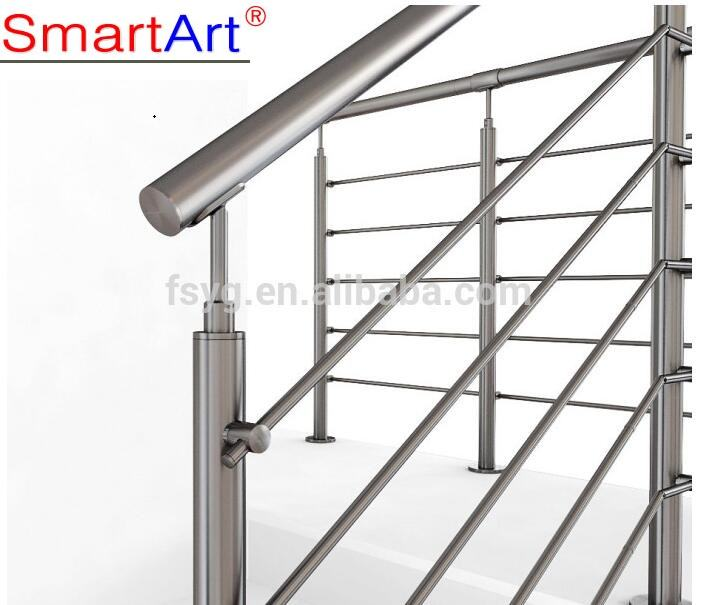Stainless steel stairway handrail for outdoor steps