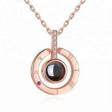 MECYLIFE Fashion 100 I Love You Pendant Roman Numerals Engraved Crystal Minimalist Rose Gold Love Necklace