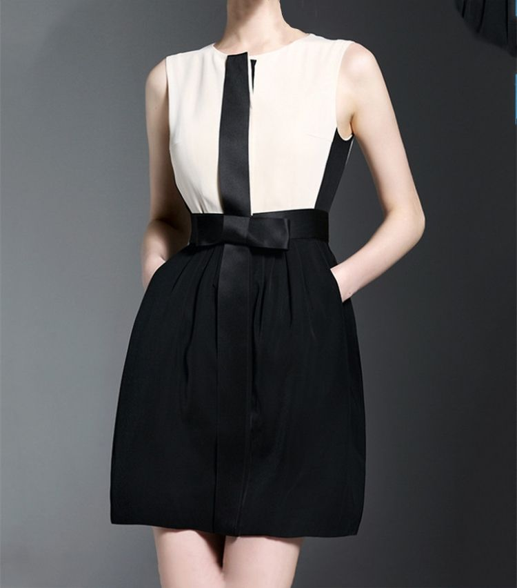 woman clothing:white and black combined sleeveless office lady summer woman dress