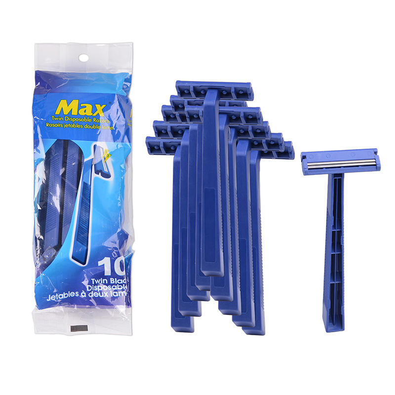 fixed head twin blade disposable razor with blue razor handle