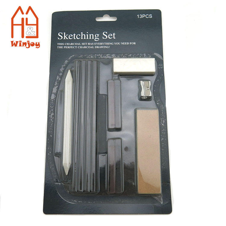 13 teile/paket Blister Sketching Charcoal Soft Pastel Pencils Set für Art Drawing
