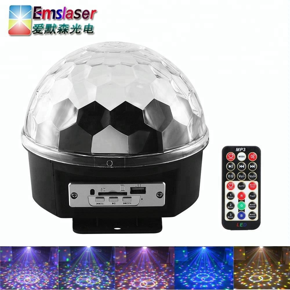 Bluetooth MP3 Disco Party Lights 9 Colori LED Rotante Sfera di Cristallo Magico Con Telecomando