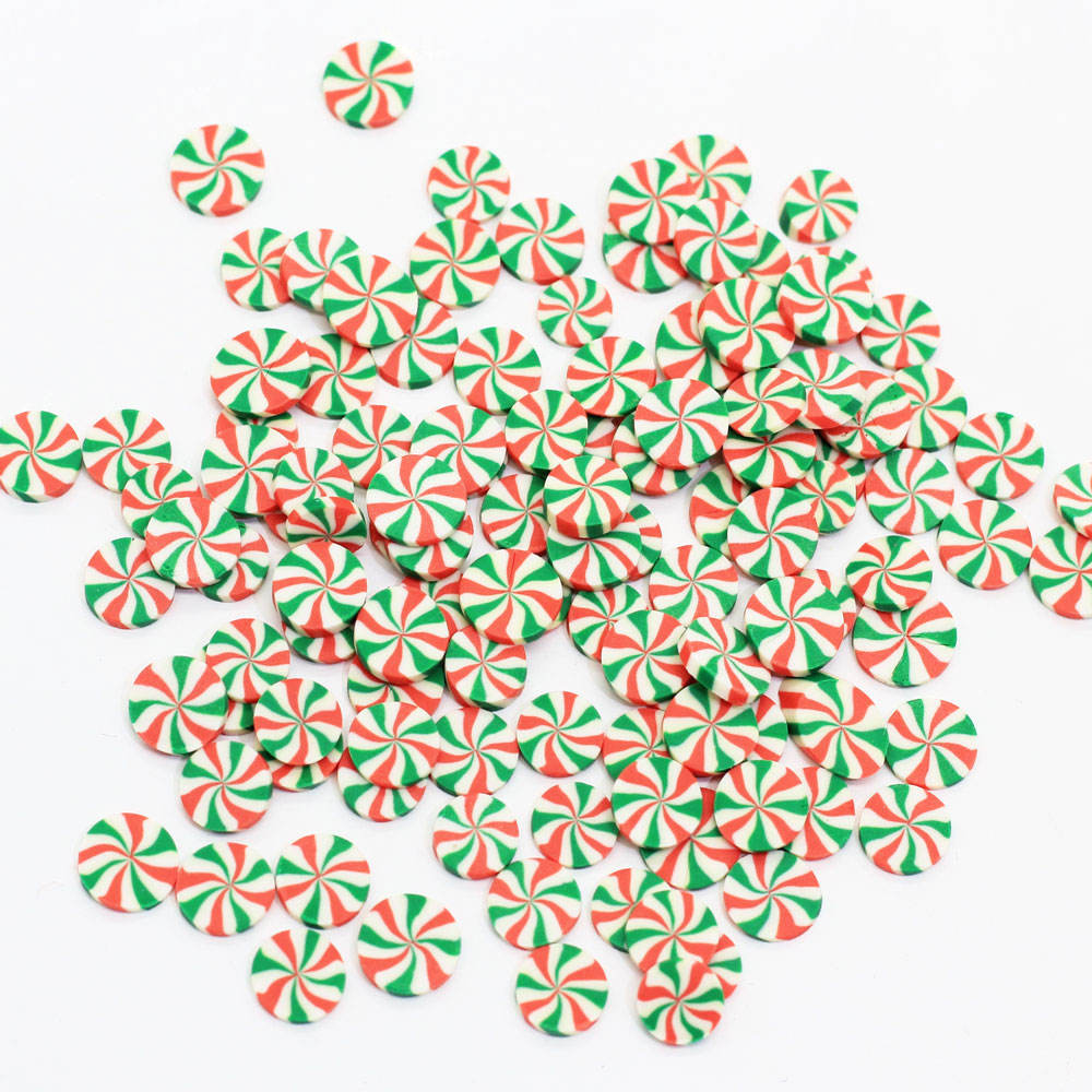 6MM Red and Green Peppermint Polymer Clay Candy Slice Sprinkles Miniature Dessert 3D Nail Art Slime Decoration