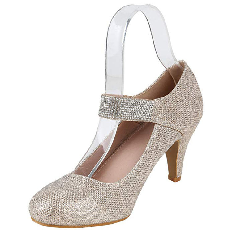 New design buckle strap gold high quality women thick heel job diamond crystal high heel shoes