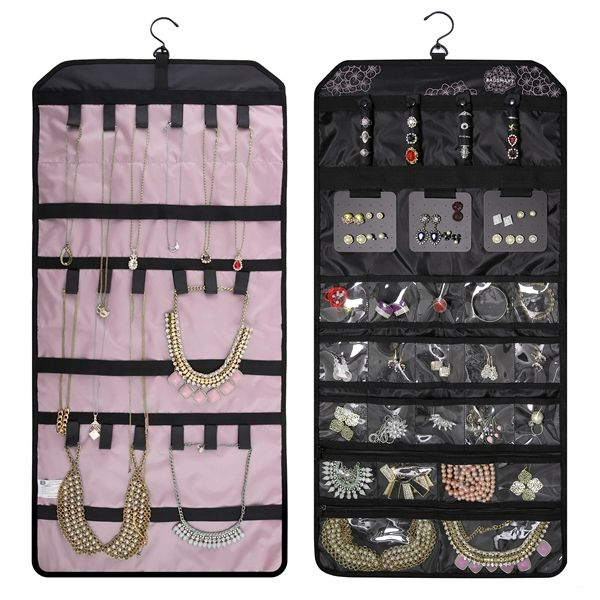 Portable roll up hanging traveling jewelry bag travel jewellery organizer for necklace bracelets